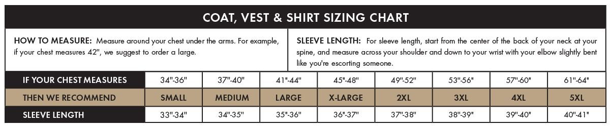 coats vests and shirts size chart